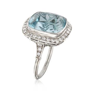 C. 1950 Vintage 14.60 Carat Aquamarine Ring with 1.00 ct. t.w. Diamonds in Platinum. Size 7.25, , default
