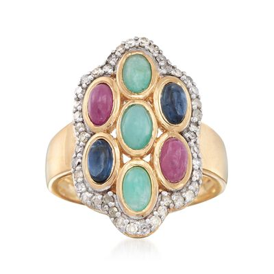 2.20 ct. t.w. Multi-Stone Ring with .50 ct. t.w. Diamonds in 18kt Gold Over Sterling, , default