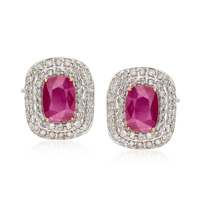 2.10 ct. t.w. Ruby and .48 ct. t.w. Diamond Earrings in 14kt Yellow Gold, , default