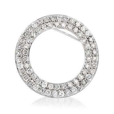 5.00 ct. t.w. Diamond Double-Row Circle Pin in 14kt White Gold, , default