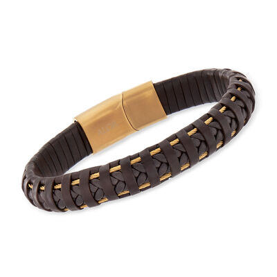 ALOR Men's Brown Leather and Yellow Stainless Steel Bracelet with Magnetic Clasp, , default
