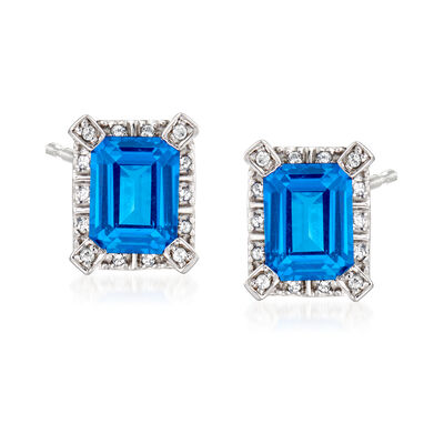 3.40 ct. t.w. Blue and White Swarovski Topaz Earrings in Sterling Silver, , default