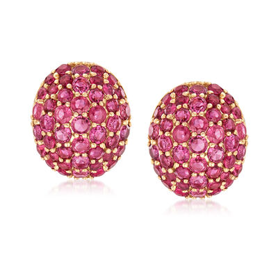 3.40 ct. t.w. Thai Ruby Dome Earrings in 14kt Yellow Gold