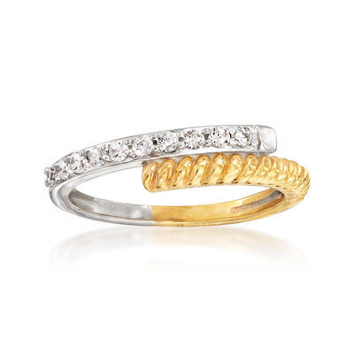 .25 ct. t.w. Diamond Bypass Ring in Sterling Silver and 18kt Gold Over Sterling, , default