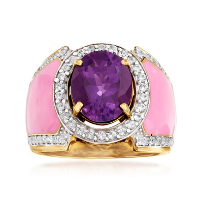 3.20 Carat Amethyst and .70 ct. t.w. White Topaz Ring with Pink Enamel in 18kt Gold Over Sterling