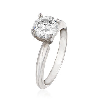 1.37 Carat Diamond Solitaire Ring in 14kt White Gold. Size 6