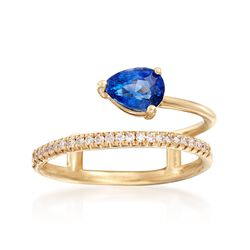 1.00 Carat Sapphire and .12 ct. t.w. Diamond Double-Band Open Ring in 14kt Yellow Gold, , default