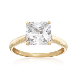 3.00 Carat CZ Ring in 14kt Yellow Gold, , default