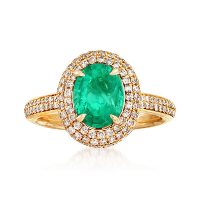 1.40 Carat Emerald and .65 ct. t.w. Diamond Halo Ring in 14kt Yellow Gold