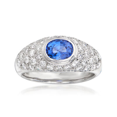 C. 1990 Vintage .97 Carat Sapphire and .70 ct. t.w. Diamond Ring in Platinum