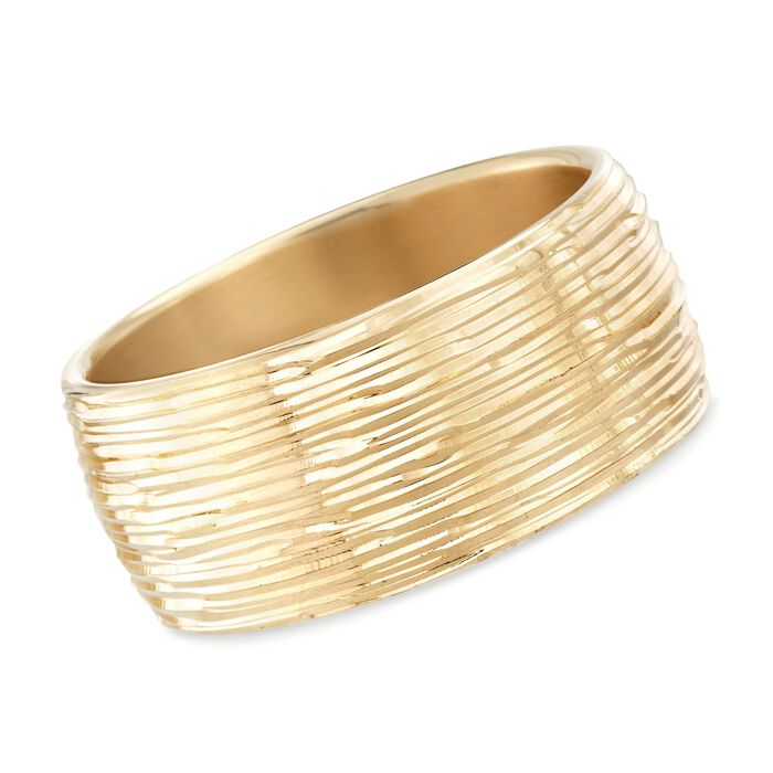 "Italian Andiamo 14kt Yellow Gold Wide Diamond-Cut Bangle Bracelet. 7.5"", , default"