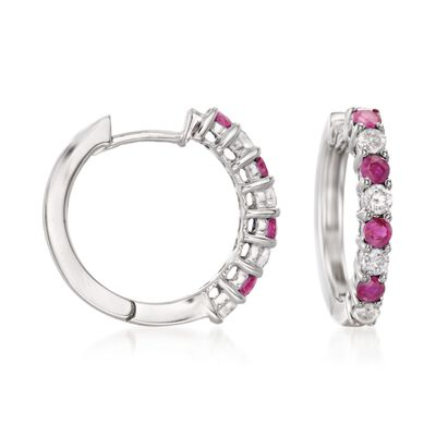 .50 ct. t.w. Ruby and .35 ct. t.w. Diamond Hoop Earrings in 14kt White Gold, , default