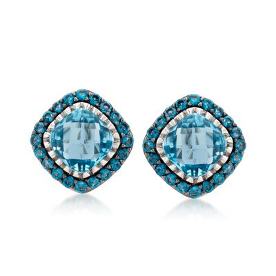 8.60 ct. t.w. Blue Topaz Stud Earrings in Sterling Silver