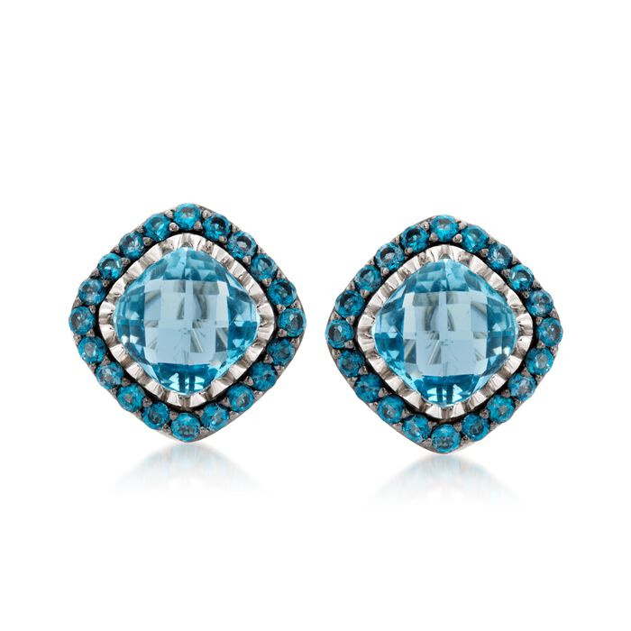 8.60 ct. t.w. Blue Topaz Stud Earrings in Sterling Silver