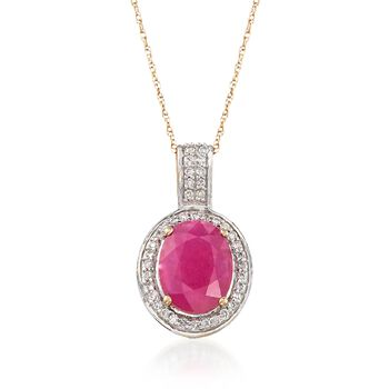 """2.60 Carat Ruby and .20 ct. t.w. Diamond Pendant Necklace in 14kt Yellow Gold. 18"""", , default"""