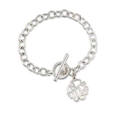 Small Sterling Silver Monogram Toggle Bracelet, , default