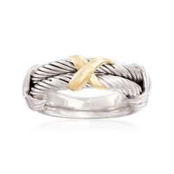"""Phillip Gavriel """"Italian Cable"""" Sterling Silver Ring With 18kt Gold, , default"""