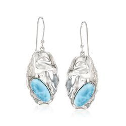 Bezel-Set Larimar Ripple Drop Earrings in Sterling Silver, , default
