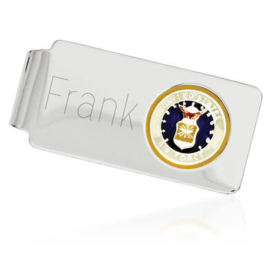 Sterling Silver U.S. Air Force Enameled Engravable Money Clip