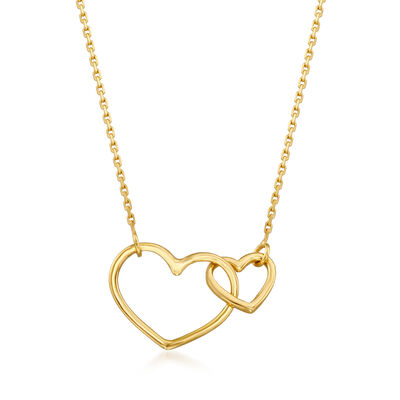 14kt Yellow Gold Interlocking Open-Space Heart Necklace