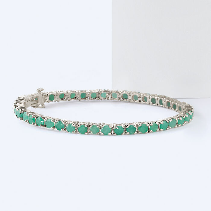 6.60 ct. t.w. Emerald Tennis Bracelet in Sterling Silver