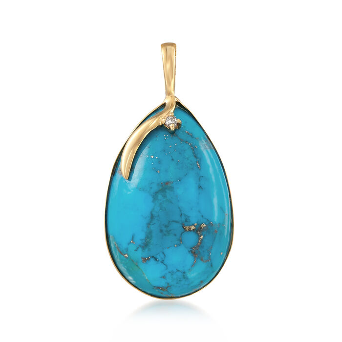 Stabilized Turquoise Pendant with Diamond Accent in 14kt Yellow Gold