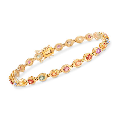 5.50 ct. t.w. Multicolored Sapphire Bracelet in 18kt Gold Over Sterling