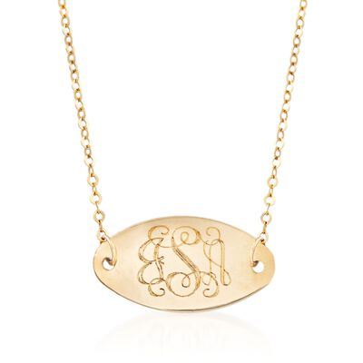 Italian 14kt Yellow Gold Monogram Oval ID Necklace, , default