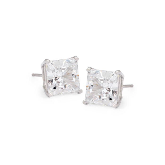 3.00 ct. t.w. Princess-Cut CZ Stud Earrings in 14kt White Gold, , default