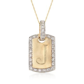 """.30 ct. t.w. Diamond Single Initial ID Tag Pendant Necklace in 14kt Yellow Gold. 18"""", , default"""