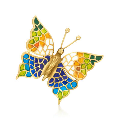 C. 1980 Vintage Multicolored Enamel Butterfly Pin in 18kt Yellow Gold