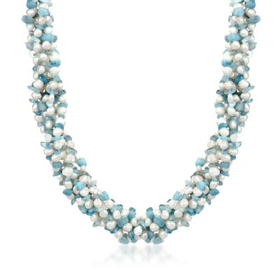 Aquamarine Bead and 5-6mm Cultured Pearl Torsade Necklace with Sterling Silver, , default