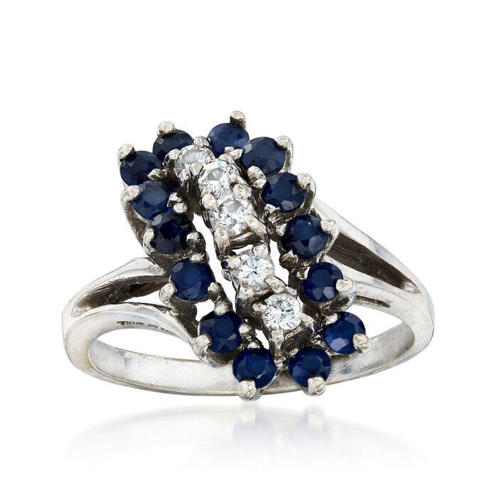 C. 1970 Vintage 1.00 ct. t.w. Sapphire and .25 ct. t.w. Diamond Cluster Ring in 14kt White Gold. Size 7, , default