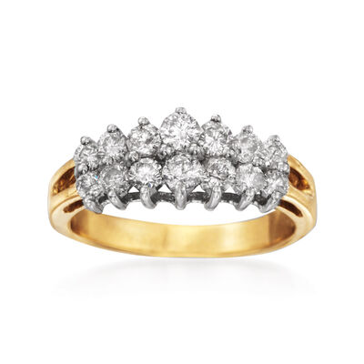 1.00 ct. t.w. Diamond Two-Row Ring in 14kt Yellow Gold