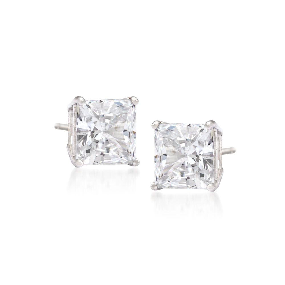 zirconia in square cubic kt earrings back stud cut ct screw diamond princess