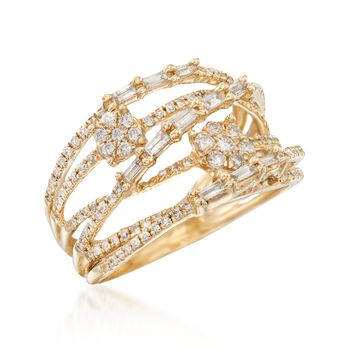 .70 ct. t.w. Baguette and Round Diamond Highway Ring in 14kt Yellow Gold, , default
