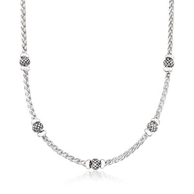 "Andrea Candela ""Espiga"" Sterling Silver Station Necklace, , default"