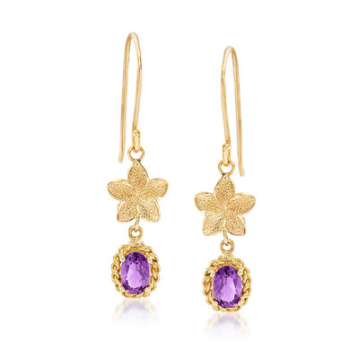 .90 ct. t.w. Amethyst Flower Drop Earrings in 14kt Yellow Gold