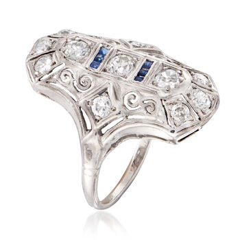 C. 1940 Vintage .85 ct. t.w. Diamond Dinner Ring with Synthetic Sapphire Accents in Platinum. Size 7.25
