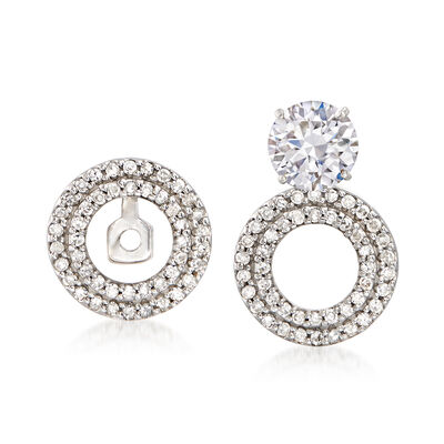 .26 ct. t.w. Diamond Circle Convertible Earring Jackets in 14kt White Gold, , default