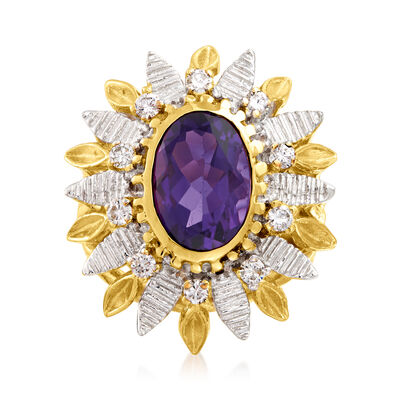 C. 1970 Vintage 4.50 Carat Amethyst and .50 ct. t.w. Diamond Sunburst Ring in 14kt Two-Tone Gold