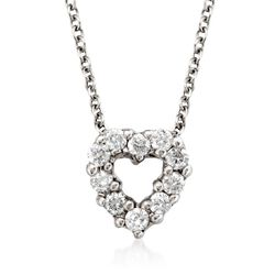 "Roberto Coin ""Tiny Treasures"" .11 ct. t.w. Diamond Heart Necklace in 18kt White Gold. 16"", , default"