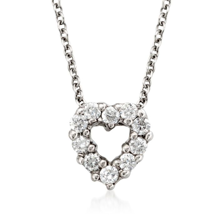 """Roberto Coin """"Tiny Treasures"""" .11 ct. t.w. Diamond Heart Necklace in 18kt White Gold. 16"""", , default"""