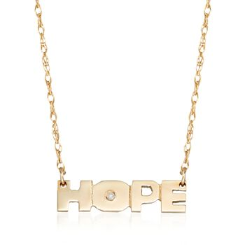 """14kt Yellow Gold """"Hope"""" Necklace With Diamond Accent, , default"""
