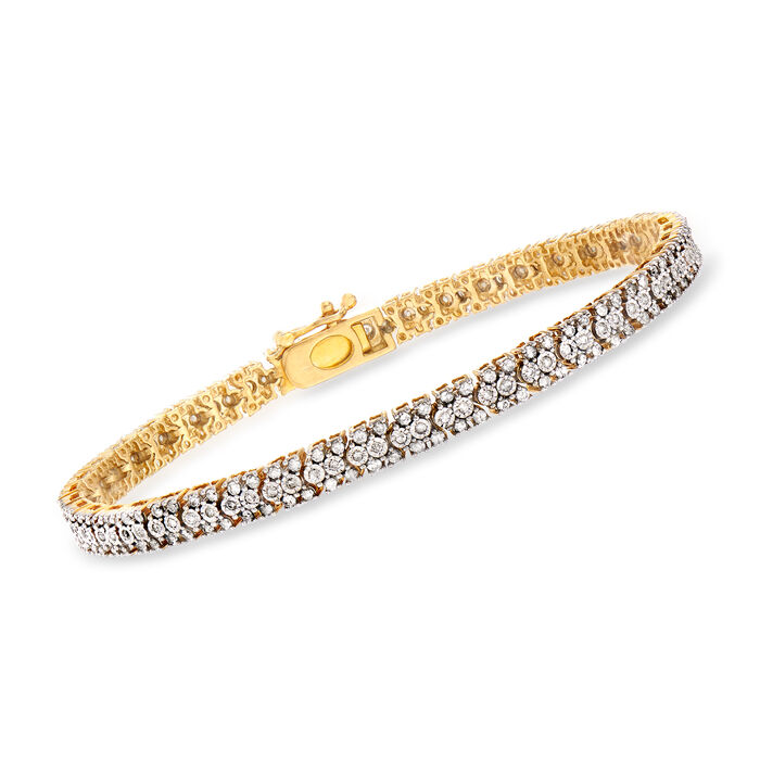 1.00 ct. t.w. Diamond Bracelet in 18kt Gold Over Sterling, , default