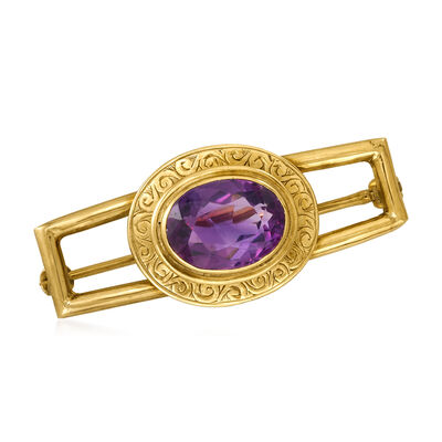C. 1950 Vintage 2.70 Carat Amethyst Pin in 14kt Yellow Gold