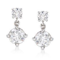 1.00 ct. t.w. Diamond Double Drop Earrings in 14kt White Gold, , default