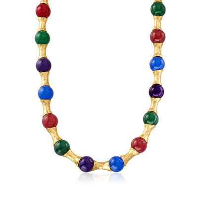 Italian Multicolored Quartzite with 5mm Cultured Pearl Necklace in 18kt Gold Over Sterling