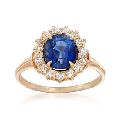 C. 1990 Vintage 2.49 Carat Sapphire and .40 ct. t.w. Diamond Ring in 14kt Yellow Gold, , default