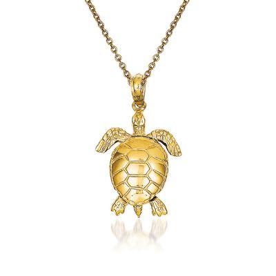 14kt Yellow Gold Turtle Pendant Necklace, , default